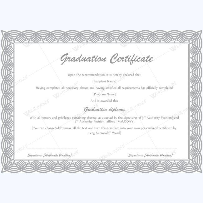 13 best Graduation Certificate Templates images on Pinterest - graduation certificate template word