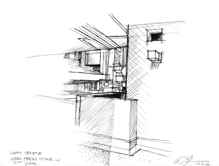 Unity Temple by Frank Lloyd Wright Sketching by Frederick