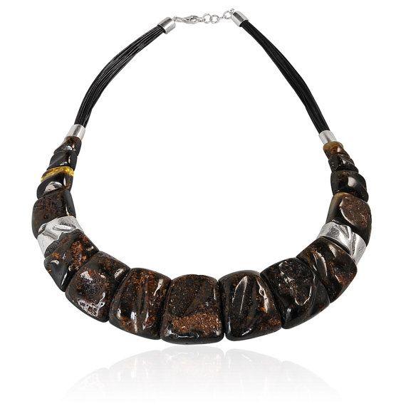 Великолепная ожерелье с янтарем с резиной и от GemsElement на Etsy