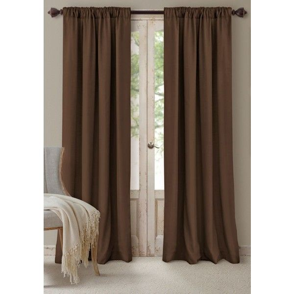 Elrene  Cachet 52-In. X 84-In. - 3 In 1 Window Panels - Chocolate (2.215 RUB) ❤ liked on Polyvore featuring home, home decor, window treatments, curtains, brown, lining curtains, rod pocket panel, chocolate curtain panels, brown window panels and tab curtain panels