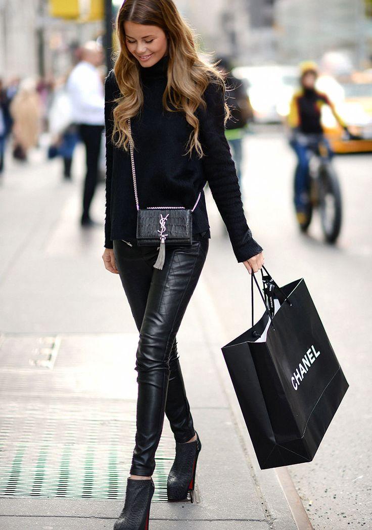 Zara sweather, leather pants, Louboutin booties & Saint Laurent tassel bag #StreetStyle