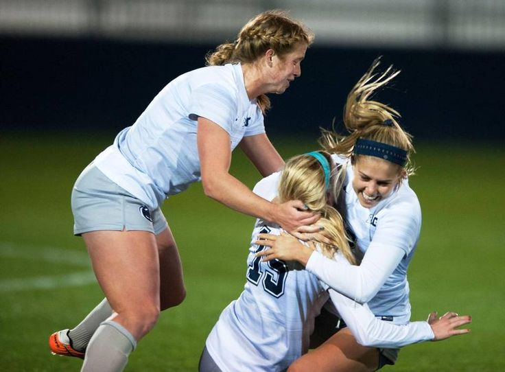 Penn State midfielder Charlotte Williams, right, hugs midfielder Haleigh Echard after Williams scored a goal during a game against Bucknell University Friday, Nov 11, 2016 at Jeffrey Field.