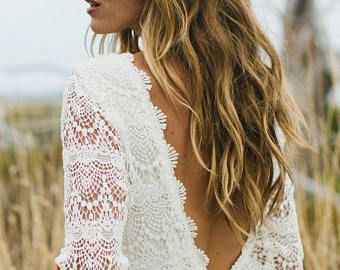 DAUGHTERS OF SIMONE boho lace wedding dress - sample sale