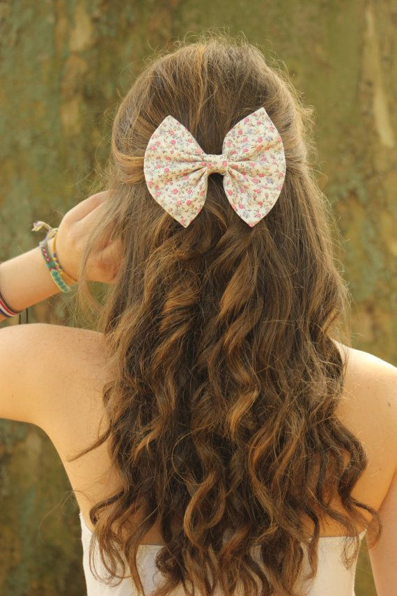 small floral print hair bow hair pinterest hair bows
