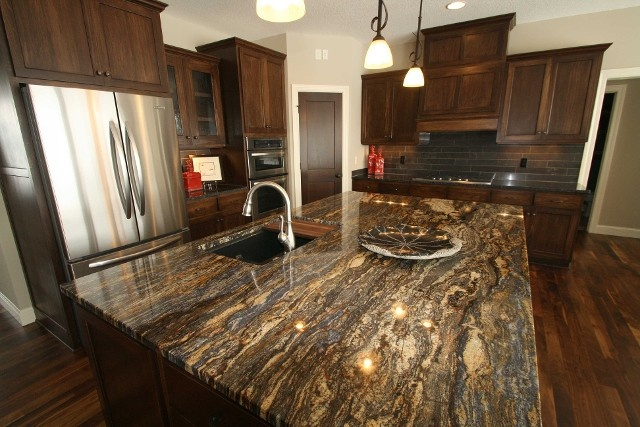 Ldk Kitchen With Cinderella Blue Granite Island Top