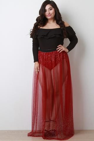 eb68a7feb5bf0 Only 5 Left...!Jeweled High Waisted Brief Mesh Maxi Skirt