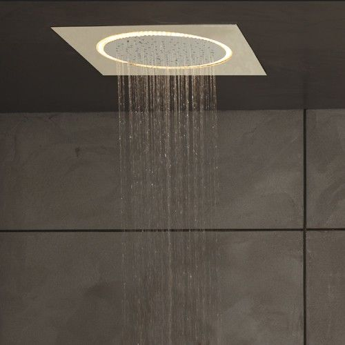 A part of the Legato Collection. The Legato Ceiling-Mount Showerhead with LED Lighting puts a futuristic twist on the traditional showerhead.