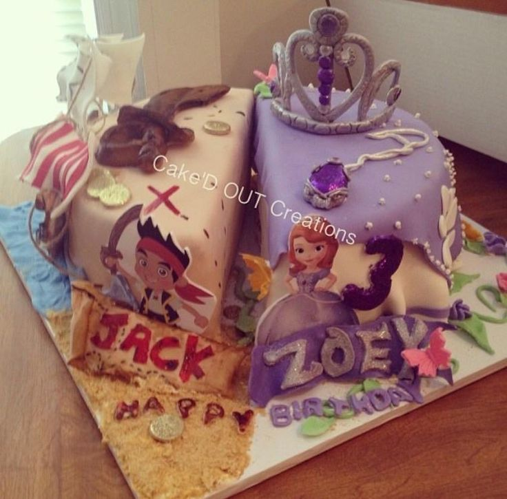 Made for a set of twins (boy and girl) we wanted to not do a two tiered cake and decided to give them their own cakes …the theme was pirate princess which was a summer special for Disney jr so it went together nicely :)
