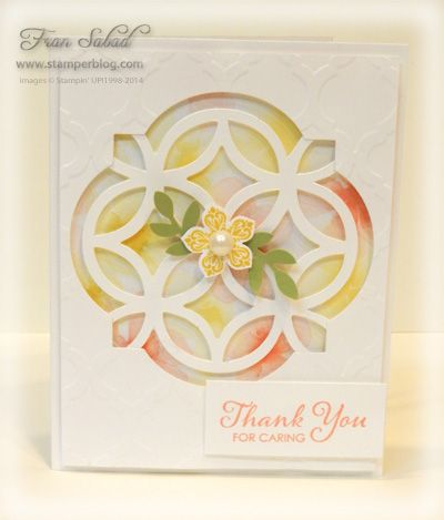handmade card ... negative space lattice with soft colors showing from behind ... wonderful card!
