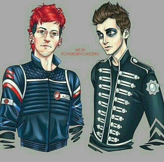 Twenty One Pilots in different My Chemical Romance era looks