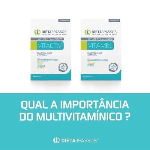 Na DIETA3PASSOS® o multivitamínico – Vitamin ou Vitactiv - é de extrema importância, pois reforça o seu sistema imunitário, compensa as carências nutricionais, modera o apetite e auxilia o trânsito intestinal.  Descubra este e outros produtos na nossa...