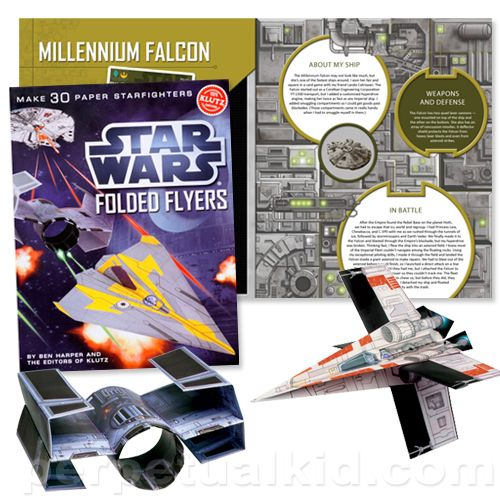 STAR WARS STARFIGHTER PAPER AIRPLANES   (http://www.perpetualkid.com/star-wars-folded-flyers.aspx)