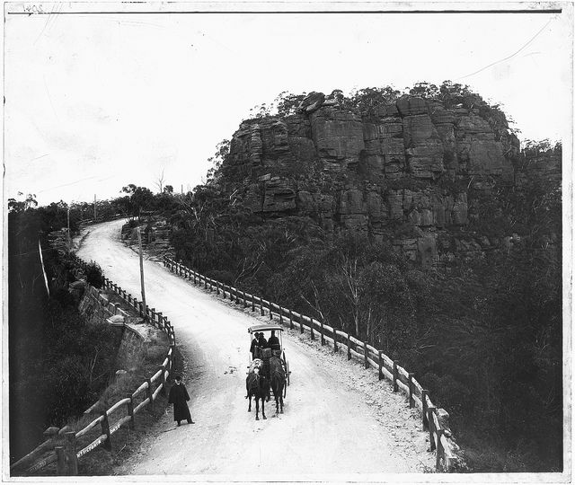 Soldiers Gap on the newly completed section of highway at Mt Victoria. NSW State Records