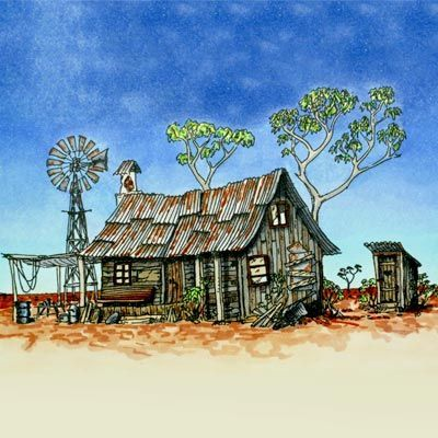Aussie Outback Shack Digi Stamp in Digital images