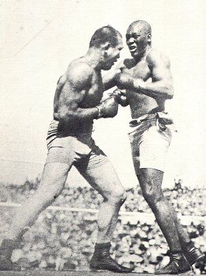 "July 4th 1910 - The ""Battle of the Century,"" - Jack Johnson knocks out white boxer Jim Jeffries in a heavyweight boxing match that went 15 Rounds. Race riots across the United States cause the whites couldn't accept that a Black MAN not only beat them in a ring he also was not humble. INFORMATION: http://www.loc.gov/rr/news/topics/bigfight.html"