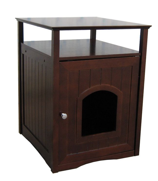 Adorable Walnut Cat Washroom. Find this and more of cat litter box ideas at PetPossibilities.com. Click save to remember.
