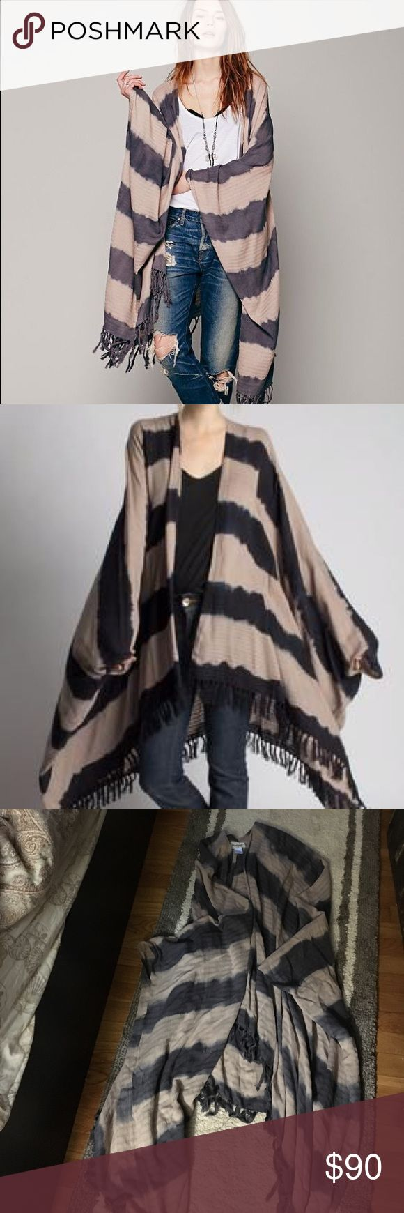 Free People by ketzali dye tie stripe poncho Amazing .. wonderful and fun!! Naturally dyed striped poncho with armholes - handmade  in Guatemala - 100% cotton - one size fits most - pic 2 is for styling and fit - the poncho for sale is grey and tan Free People Other