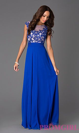 Floor Length Cap Sleeve Dress with Illusion Lace at PromGirl.com