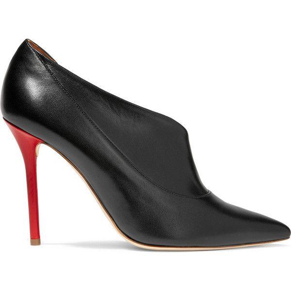 Malone Souliers Crystal d'Orsay leather pumps (18 300 UAH) via Polyvore featuring shoes, pumps, black, black slip on shoes, slip on shoes, high heel shoes, black pumps и leather shoes