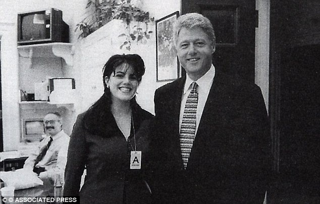 Monica Lewinsky and President Bill Clinton beam at the White House - before their affair was exposed in 1998 (...good times)