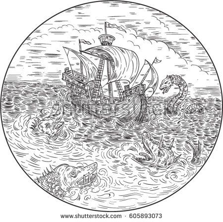 Drawing sketch style illustration of a tall ship sailing in turbulent ocean sea with serpents and sea dragons around set inside circle done in black and white.   #seamonsters #drawing #illustration