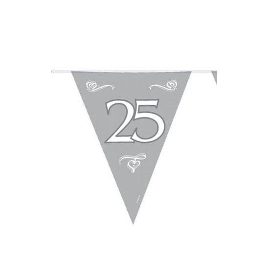 Jubileum vlaggenlijn 25 jaar. Zilveren plastic vlaggenlijn voor een 25 jarig jubileum. Formaat: ongeveer 6 meter.