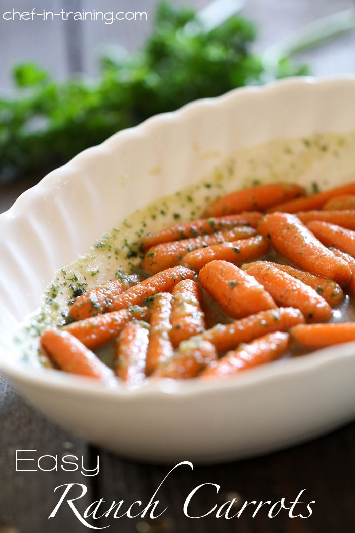 Easy Ranch Carrots from chef-in-training.com ...This recipe is WONDERFUL and couldn't be any more quick or easy! A family favorite for sure!