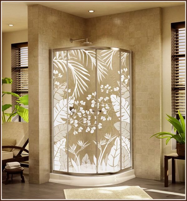 decorative short window covering | Tropical Oasis Decorative Window Film