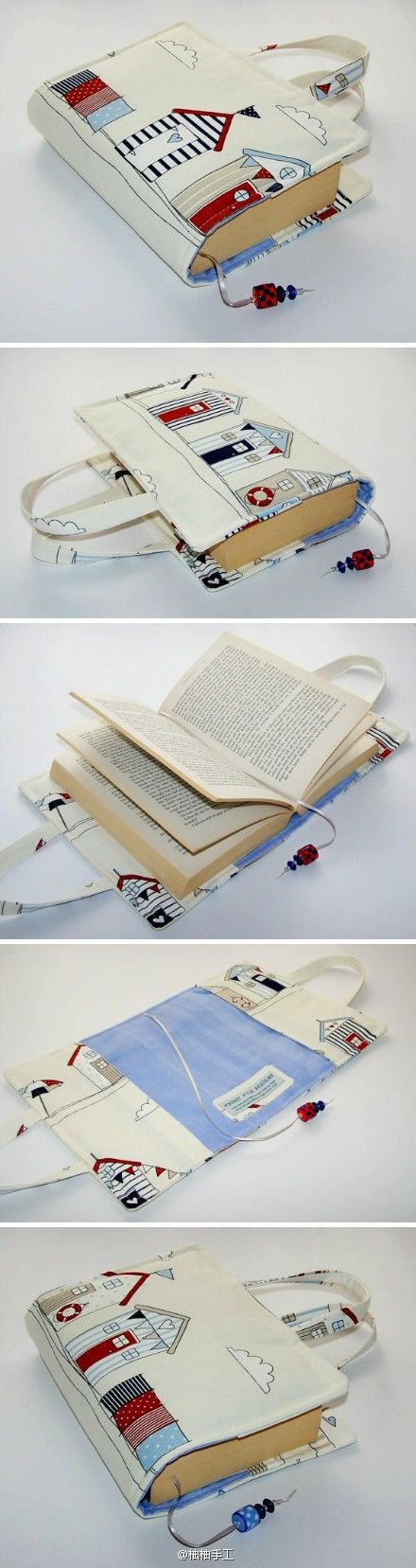 Portable Book Carrier with handle and book mark. Cover of book slip into pockets of carrier. No pattern or instructions on the site, but it does not look too difficult to do just using the image as a guide.