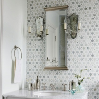 powder room tile feature wall Bathrooms Pinterest