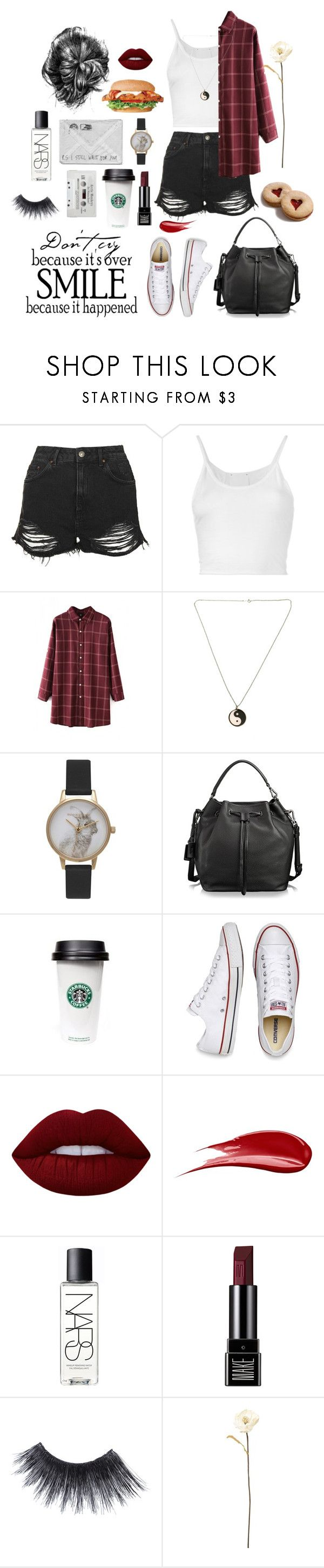 """""""Untitled #123"""" by gina787 ❤ liked on Polyvore featuring Topshop, Lost & Found, Olivia Burton, Tumi, Converse, Lime Crime, Hourglass Cosmetics, NARS Cosmetics, Make and MAKE UP FOR EVER"""