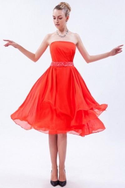Chiffon Orange A-Line Brautjungfern Kleid kv2687 - Silhouette: A-Line; Stoff: Chiffon, Verzierungen: Beading, Geschichtete, Pailletten, Länge: Tee Länge - Price: 87.6600 - Link: http://www.kleiderverkaufen.de/chiffon-orange-a-line-brautjungfern-kleid-kv26