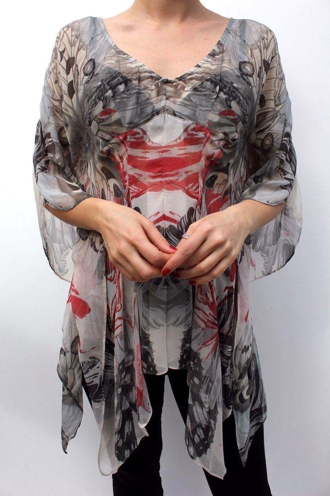 Karen Millen Multi Butterfly Silk Kaftan TM145 Summer Tunic Dress Top 10 38 New #KarenMillen #TunicKaftan #Formal