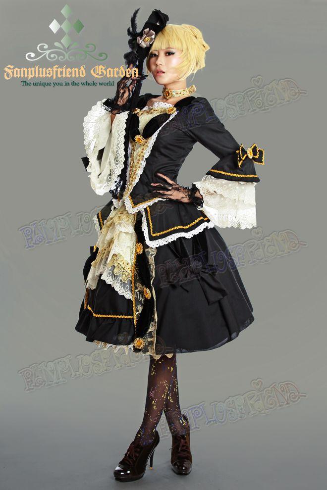 fanplusfriend - Gothic Lolita Aristocrat Visual Kei Rococo Black Outfit*