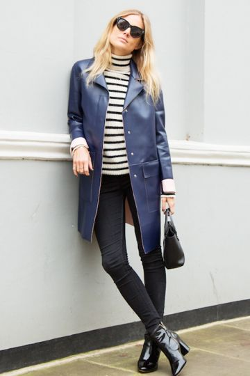 Navy Leather Coat with Striped Polo Neck, Skinny Black Jeans and Ankle Boots #navyleathercoat #bretonstripetop #stripepoloneck #patentankleboots #blackankleboots #blackhandbag #blueleather #fauxleathercoat #leathercoat #leathertrench #blueleathertrench #leathermac #blueleathermac
