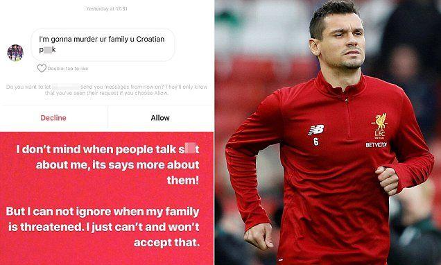 Liverpool defender Dejan Lovren shares death threat