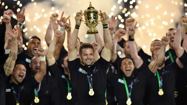 The All Blacks celebrate winning the Rugby World Cup.