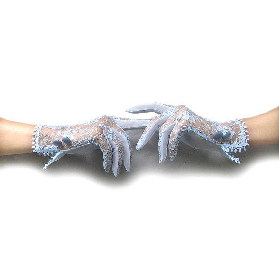 Sheer Gloves Blue Lace Gloves Lace Formal Gloves by curtainroad