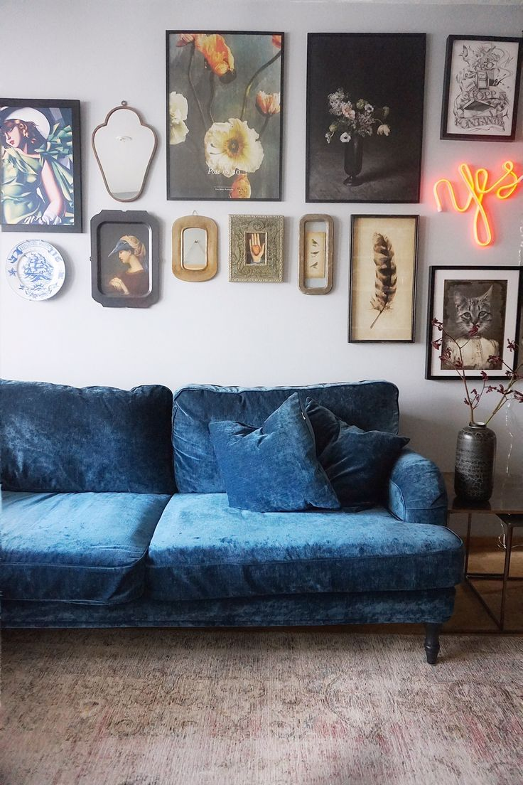 Sofa Pillows Stunning boho chic living room with a blue velvet howard sofa eclectic wall gallery