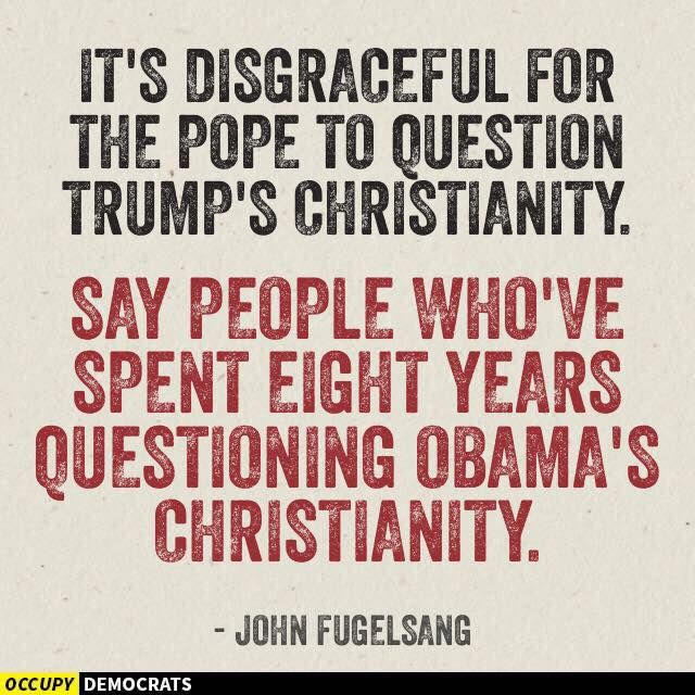 No question in MY Mind who the true Christian is!  Hint ... NOT Trump!