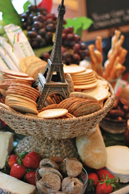 paris theme party (crackers & bread basket w/ fruit) Crackers and meat and cheese that would be good ( Bar themed idea )