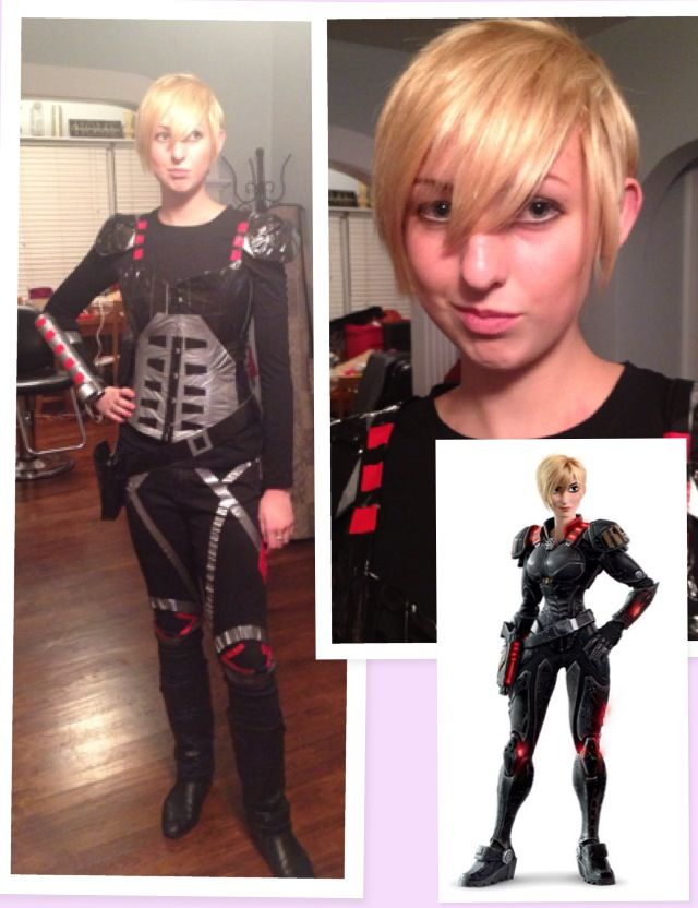 t shirt for men Sgt Calhoun from Wreck it Ralph costume using clip in extensions  a corset  and a lot of duct tape