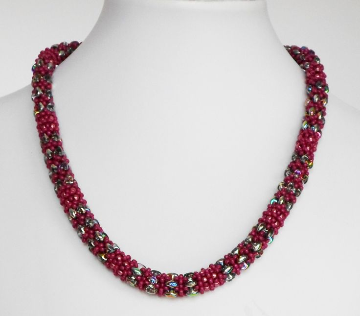 3055 Daydreamer necklace in raspberry and silver  $85   by Darlene Pfahl