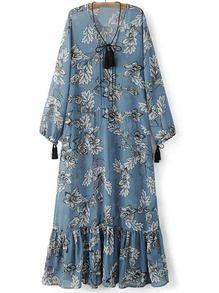 Синее макси платье с цветочным принтом с воланами