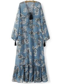 Blue Tie Neck Tassels Flowers Print Maxi Dress