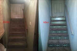 lower level stairs from carpet to pained treads and carpet treads