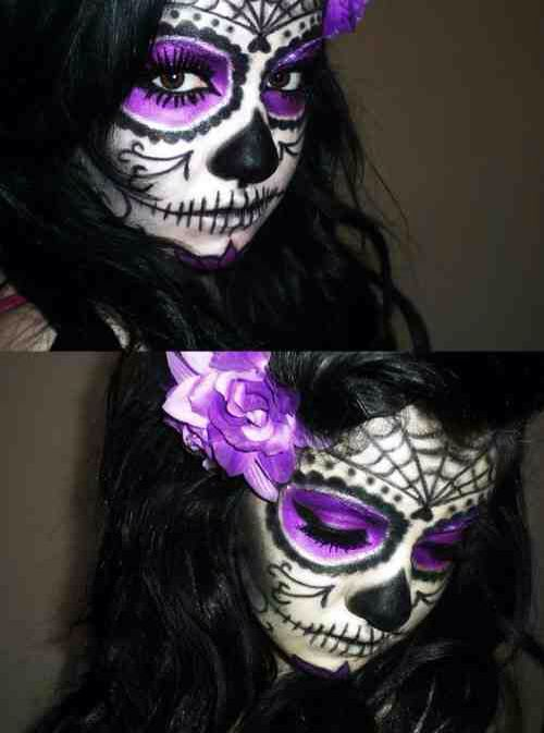 Sugar skull makeup purple