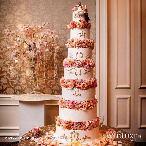 Y & A's 6 foot tall wedding cake! //  Wedluxe Magazine // Anna Elizabeth Cakes