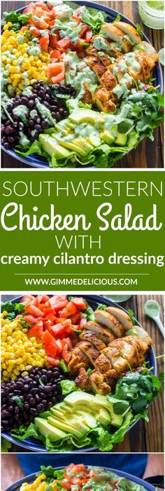 Southwestern chicken salad with creamy cilantro dressing is 1000x more delicious, fresher, and healthier than any restaurant salad at a fraction of the price.