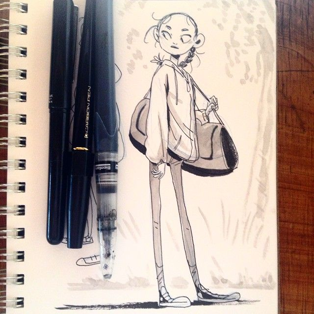 Character Design Journal : Messy braid sanfrancisco sketch art ed journal